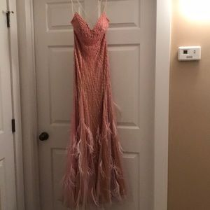 Pink beaded prom dress